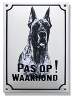 Emaille waakhond bord Deense Dog