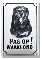 Emaille waakhond bord Rottweiler