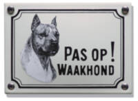 Emaille waakhond bordje Stafford Terriër
