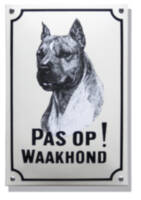 Emaille waakhond bord Stafford Terriër
