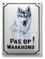 Emaille waakhond bord Husky